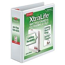 "Cardinal XtraLife ClearVue Non-Stick Locking Slant-D Ring Binder, 3"", White (26330)"