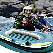 3-Person Inflatable Kayak, Wfinau Heavy Duty Outdoor Fishing Boat, Wall Thickness 0.3cm, Load-Bearing 300KG, 2