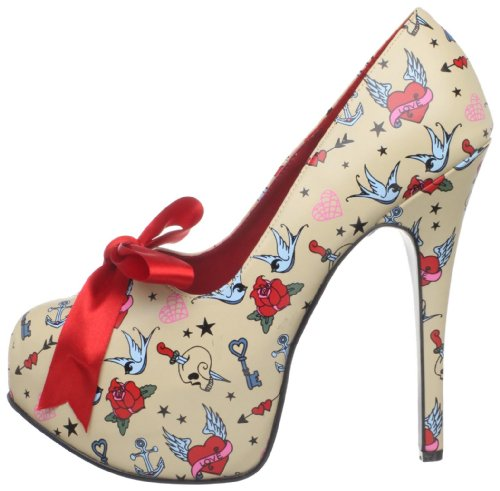 Print De Cream Tacón Couture Pinup Mujer Zapatos Pu tattoo vSAqgw
