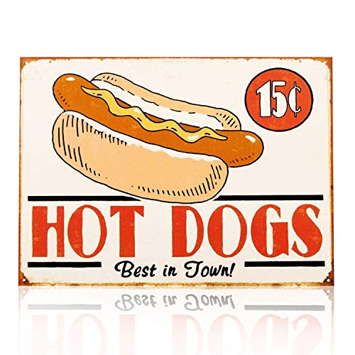 - M-Mount Tin Signs Hot Dogs Vintage Old Creative Clothing Store Wall Decoration Coffee Restaurant Bar Ornaments Iron Decoration Iron Pain 12X8Inch