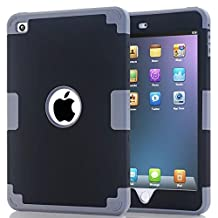 iPad Mini 4 Case,Lantier [Thin Slim][Shock Absorption][Slick Touch] Drop Protection Armor Hybrid Dual Layer Defender Protective Case Cover for Apple iPad Mini 4 Deep Gray+Black