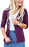 Steven McQueen Women's S-3XL Solid Button Front Knitwears 3/4 Sleeve Casual Cardigans Plum XL