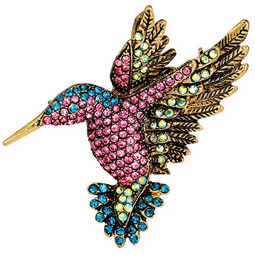 Stylebar Hummingbird Brooch Pendant Animal Retro Bird Brooches Pins Broaches for Women Girls Multicolor Crystal Vintage Gold Tone ()