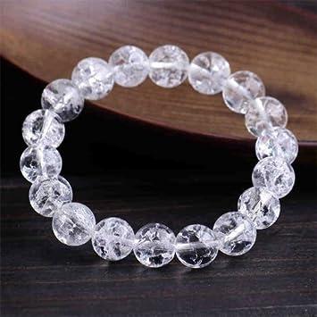 cedae238cd Amazon|【奇跡な石】天然石 クラック水晶爆裂水晶ブレスレット 10mm ...