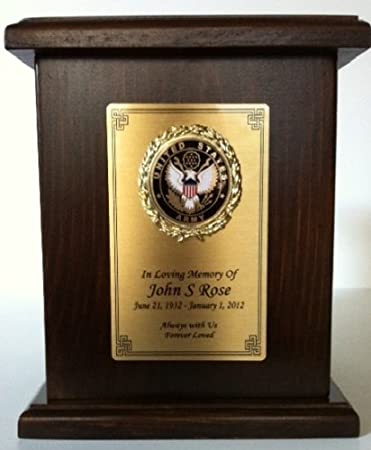 513b4d9bb27f8 AIR Force Cremation URN W/engraving, Hard Wood, Wooden Military Funeral Urn
