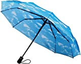 Crown Coast Sky Cloud Pattern Travel Umbrella - 60 MPH Windproof Lightweight for Men Women and Kids - Compact Travel Umbrellas in Multiple Colors