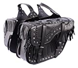 Cowboy Studded Black PU Leather Tassel Biker Panniers SD72 Motorbike Saddle Bag