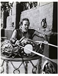 Charlton Heston 8 inch by 10 inch PHOTOGRAPH Planet of the Apes The Ten Commandments Ben-Hur from Chest Up Driving Chariot kn