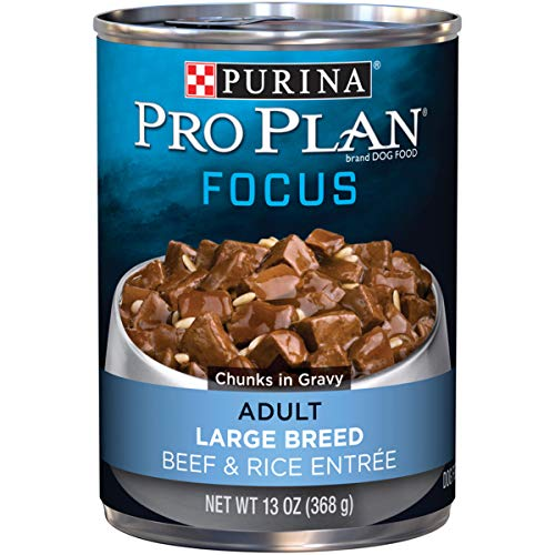 (Purina Pro Plan Large Breed Gravy Wet Dog Food; FOCUS Beef & Rice Entree - (12) 13 oz. Cans)