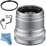 Fujifilm XF 50mm f/2 R WR Lens (Silver) 16536623 + 46mm UV Filter + Fibercloth + Lens Capkeeper Bundle