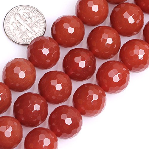 GEM-inside Gorgeous Natural Red Agate Gemstone Faceted Round Loose Beads 14mm Carnelian Beads For Jewelry Making 15 Inches