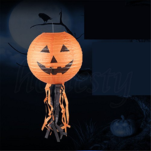 MAZIMARK--Halloween Festival DIY Vintage Pumpkin Paper Lantern Lamp Party Decoration (Creepy Halloween Makeup Diy)