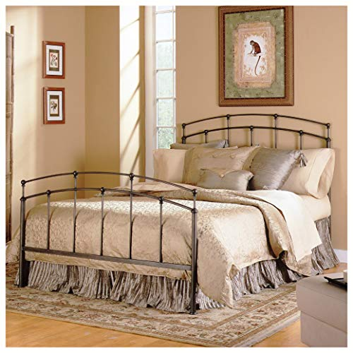 HEATAPPLY Metal Beds, King Size Metal Bed with Headboard and Footboard in Black Walnut Finish ()