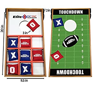 Elite Sportz Junior Bean Bag Toss Game - 2 Games on 1 Board - Tic Tac Toe and Cornhole Party Games for Kids