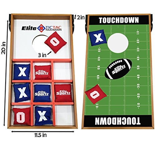Elite Sportz Junior Bean Bag Toss Game - 2 Games on 1 Board - Tic Tac Toe and Cornhole Party Games for Kids - Touchdown - College Basketball Board Game