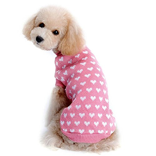Hihihappy Lovely Clothes,Wintert Autumn Warm Love Heart Dog Sweater Dog Costume Small Dog Cat Clothing Apparel Coat for Dogs PinkXS