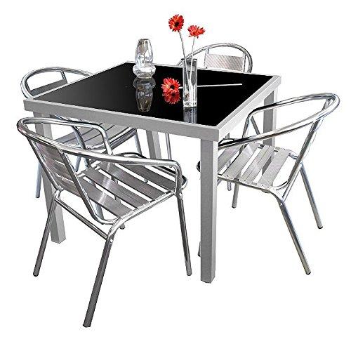 5tlg. Gartengarnitur Glastisch 90x90cm + 2x Stapelstuhl Aluminium Silber - Bistrogarnitur Gartenmöbel Campingmöbel Set