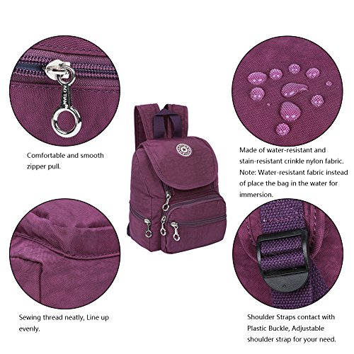 EGOGO Bolso Mochila Escolares Mini Mochila Nailon Casual para Mujer Chica Niña Impermeable, Ligera y Resistente E530-2 (Azul) Púrpura