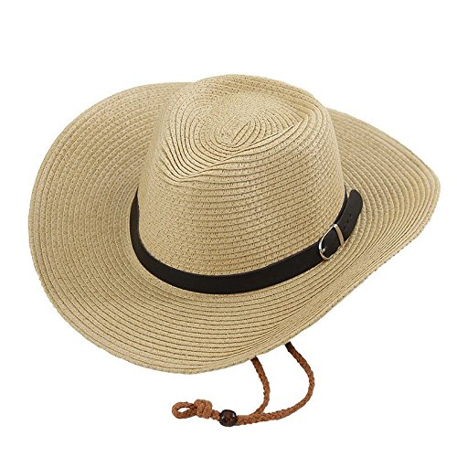 Opromo Unisex Straw Cowboy Hats Cool Western Style Summer Beach Sun Caps -Beige 1601f8e74922