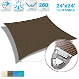 Patio Large Sun Shade Sail 24' x 24' Rectangle Heavy Duty Strengthen Durable Outdoor Canopy UV Block Fabric A-Ring Design Metal Spring Reinforcement 7 Year Warranty -Brown