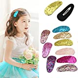 9Pcs Baby Girls Glitter Hair Bow Snap Clips Set Colorful Clips