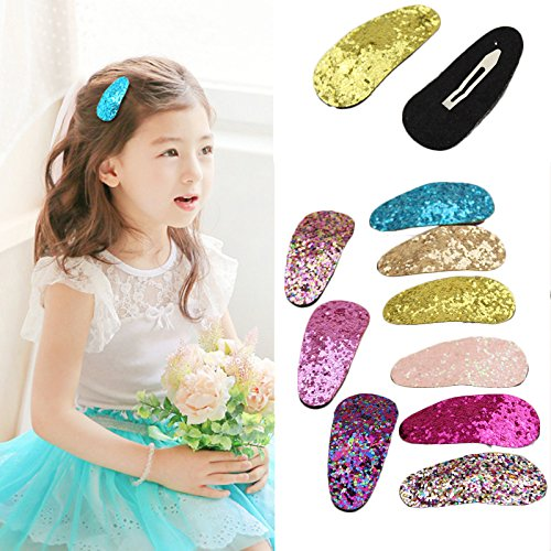 9Pcs Baby Girls Glitter Hair Bow Snap Clips Set Colorful Clips (Bows Ribbion)