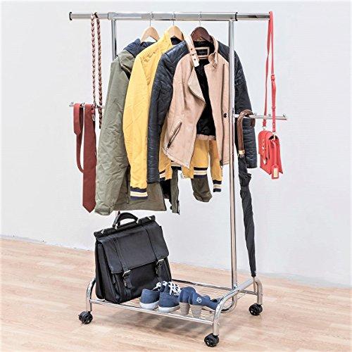 Tatkraft BULL Schwerlast Kleiderstange Garderobenständer auf Rollen 80Kg, mit Schuhablage, ausziehbar, Metallrohr verchromt L100-141xH150x50cm