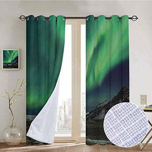 NUOMANAN Blackout Curtains Northern Lights,Flash of Aurora Polaris Above Mountains in Night Picture,Jade and Army Green Blue Grey,for Bedroom,Nursery,Living Room 84