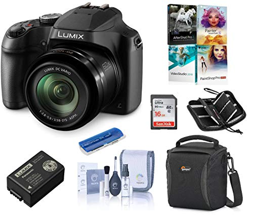 - Panasonic Lumix DC-FZ80 Digital Point & Shoot Camera - Bundle with 16GB SDHC Card, Camera Bag, Cleaning Kit, Memory Wallet, Card Reader, PC Software Package