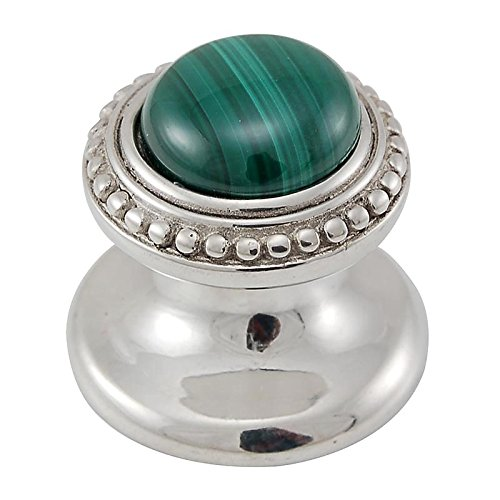 Vicenza Designs K1147 Gioiello  Round  Stone Insert  Style 8  Knob Malachite Small Polished Nickel