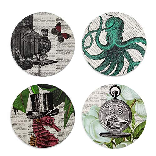 - Octopus Coasters Set, Coaster For Drinks With Vibrant Colors And Cork Backing - Prevent Furniture from Dirty and Scratched - Octopus On Old School Novelty Design - Set of 4