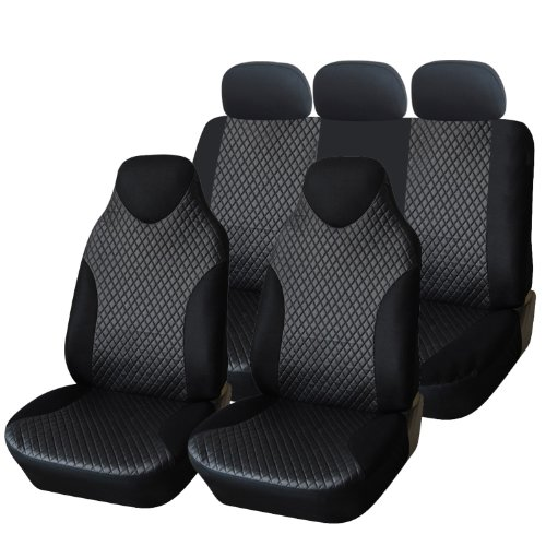 Adeco 7-Piece Deluxe Leatherette Car Vehicle Protective Seat Covers, Universal Fit, Black Color (Minivan Bucket Seat Covers compare prices)