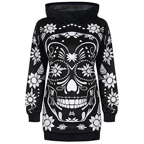Nextmia Plus Size Floral Calavera Skull Pattern Print Tunic Casual Hoodie Women from Nextmia
