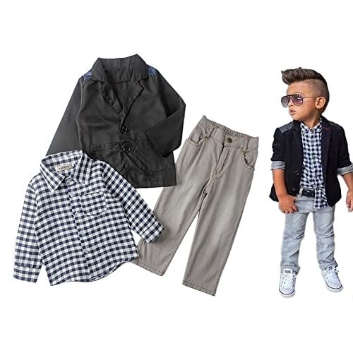 discount StylesILove Plaid T-shirt, Jacket and Pants 3-pc Boy clothing Set (8) for cheap