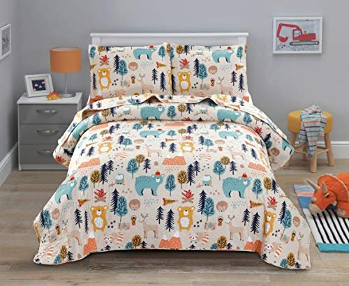 JSTextiles King Size Bears Deer Quilt Sets 96″x108″ Lightweight Bedspreads Coverlet for All Seasons – 1 Quilt + 2 Pillow Shams