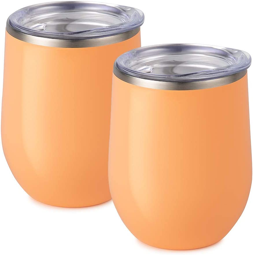 Maars Bev Stainless Steel Stemless Wine Glass Tumbler with Lid, Vacuum Insulated 12 oz Cup   Spill Proof, Travel Friendly, Fun Cocktail Drinkware - 2 Pack Peach