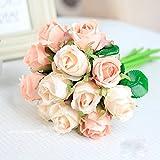 Meiliy 1 Bunch 12-Pack Fake Floral Rose Silk Flower Hand Tied Bouquet Artificial Flower Home Hotel Office Wedding Party Garden Craft Art Decor 10 Inch Pink ML-011pi