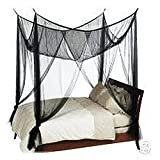 4(Four) Corner Canopy Bed Netting Mosquito Net Full Queen King Size - Black
