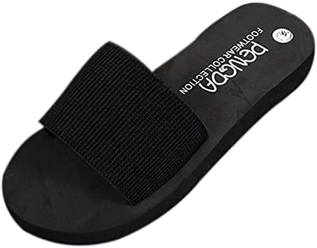 Womens Elastic Wide Band Sandals Flat