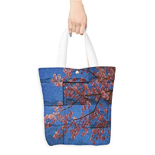Personalized Pattern Custom Shopping Bag Rustic Home Decor Thai Sakura Blossom Mural Branch with Flowers Spring Floral Beauty Print Pink Blue (W15.75 x L17.71 Inch)