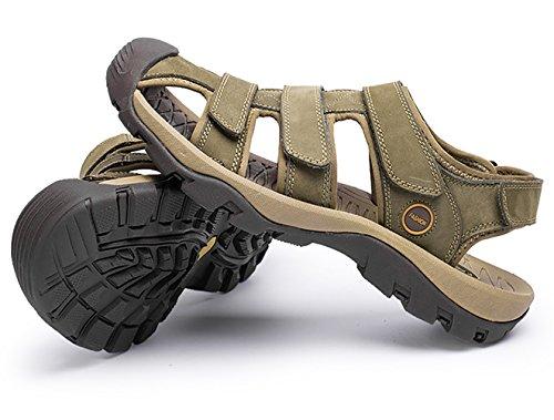 Suola Studio SK Velcro Chiusi Scarpe Estate Verde Uomo Sandali Kaki Sandalo Pelle di Trekking Alta Sportivi vqxRadq
