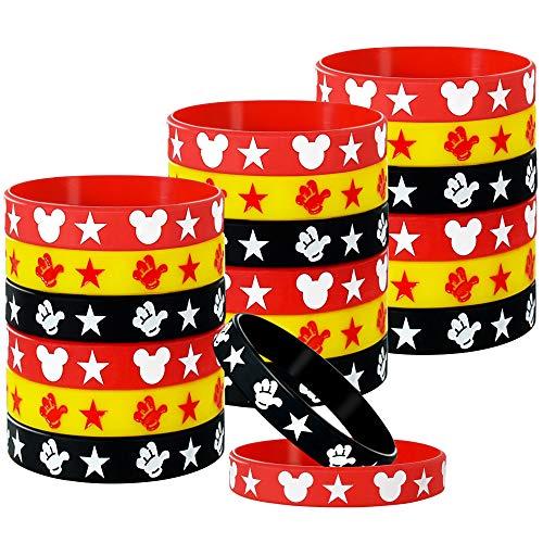 18 개의 마우스 고무 팔찌 실리콘 팔찌 팔찌 빨강 검정색과 노란색 팔찌 생일 파티 테마의 공급에 대한 어린이 청소년 성인