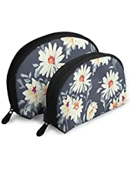 Pingshoes Makeup Bag Watercolor Daisy Handy Shell Cosmetic Bags Case for Women