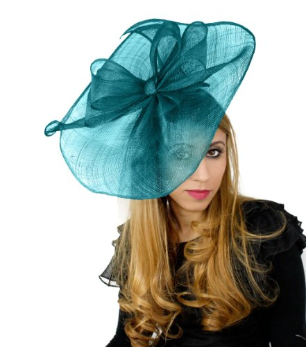 Price comparison product image Hats By Cressida 16 Inch Commodore Sinamay Ascot Fascinator Hat Women's With Headband - Teal Green