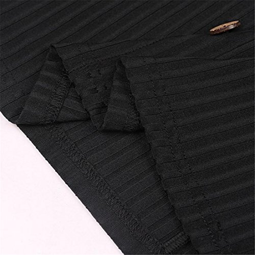 Cromoncent Femmes Clubwear Bas Bouton Sangle Spaghetti Coupe Moulante Mini-robe Noire