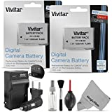 (2 Pack) LP-E8 Battery and Charger Kit for CANON REBEL T5i T4i T3i T2i, EOS 700D 650D 600D 550D DSLR - Includes: 2 Vivitar Ultra High Capacity Rechargeable 1300mAh Li-ion Batteries + AC/DC Vivitar Rapid Travel Charger + Cleaning Kit + MagicFiber Microfiber Lens Cleaning Cloth