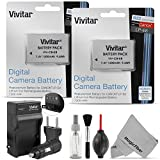 Vivitar LP-E8 Battery and Charger Kit for CANON REBEL T5i T4i T3i T2i, EOS 700D 650D 600D 550D DSLR Bundle with 2 Vivitar Rechargeable 1300mAh Li-ion Batteries,  AC/DC Vivitar Travel Charger, MagicFiber Lens Cleaning Kit