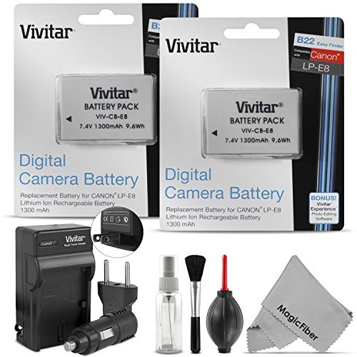 - Vivitar LP-E8 Battery and Charger Kit for CANON REBEL T5i T4i T3i T2i, EOS 700D 650D 600D 550D DSLR Bundle with 2 Vivitar Rechargeable 1300mAh Li-ion Batteries,  AC/DC Vivitar Travel Charger, MagicFiber Lens Cleaning Kit