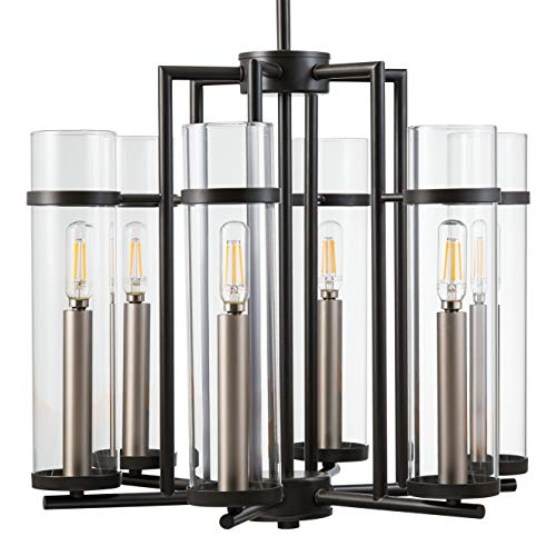 Chiara 6 Light Contemporary Chandelier – Black w Brushed Nickel – LL-CH15-5BLK