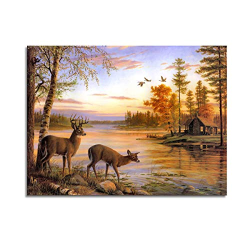 A Cup of Tea Animal Deer Canvas Print Nature Wild Life Landscape Picture Wall Art Wall Hanging Harmony River Tree Beautiful Decoration for Living Room Bedroom Kitchen Office Home Decor 12x16 in Framed ()